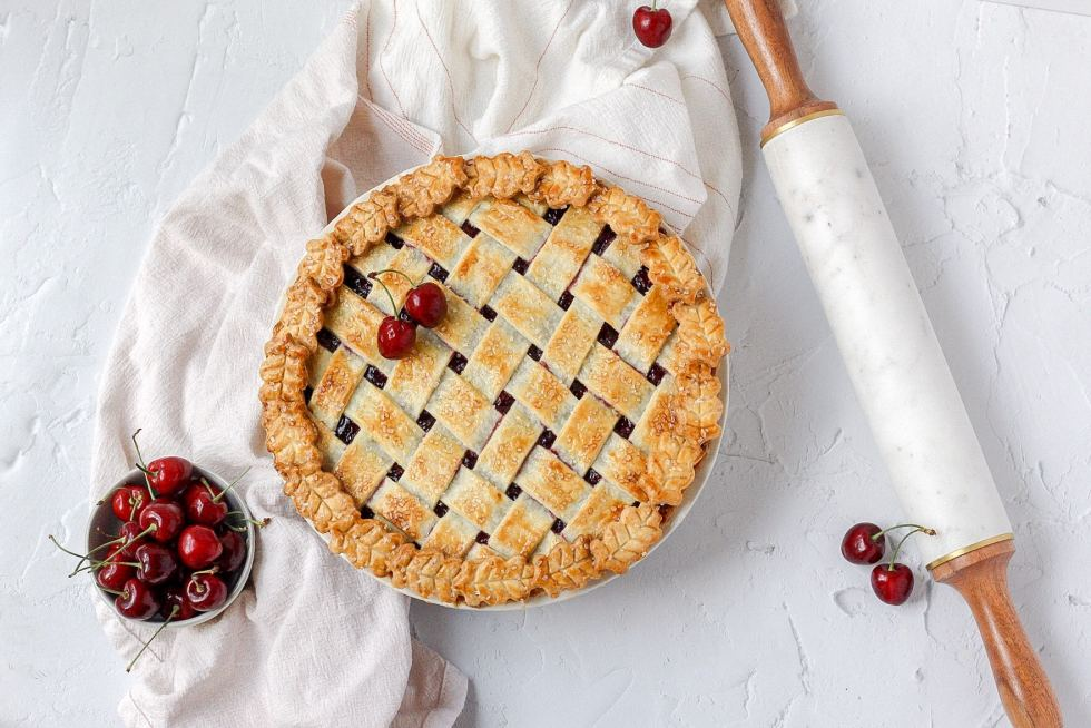 cherry pie fresh out of the oven