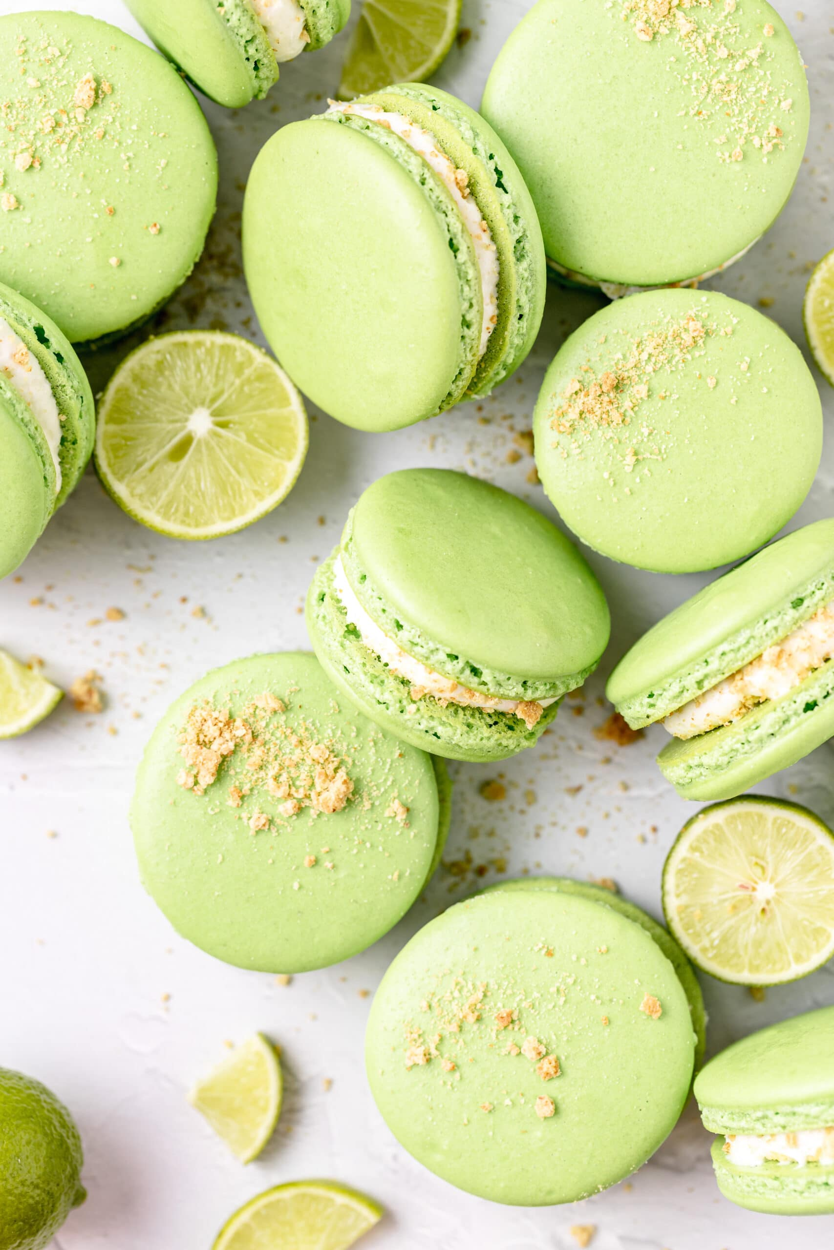 key lime pie macarons with crushed graham crackers on top