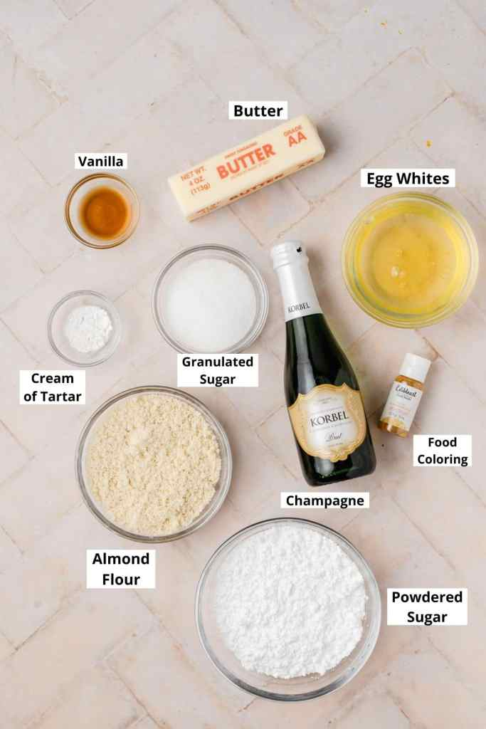 labeled shot of champagne macaron ingredients