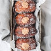 nutella filled donuts in tray