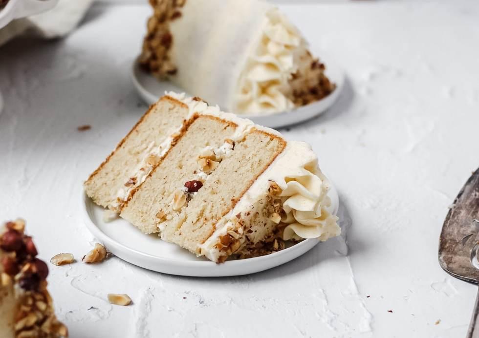 single slice of brown butter hazelnut cake