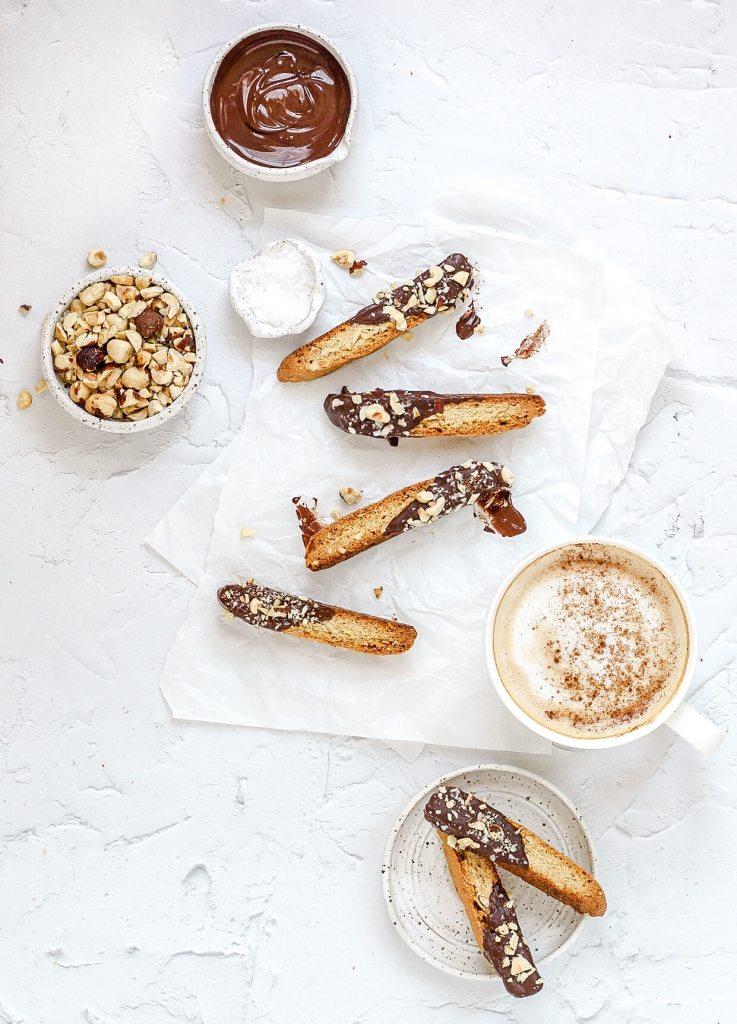 dark chocolate hazelnut biscotti with latte