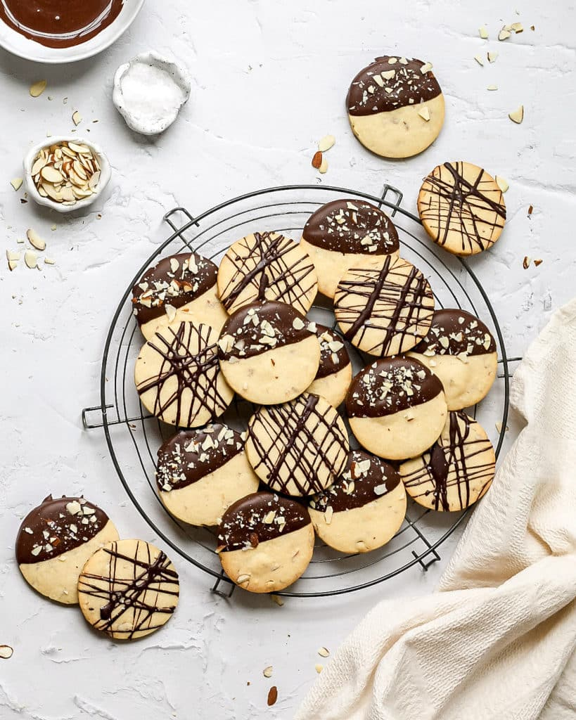chocolate almond shortbread cookies