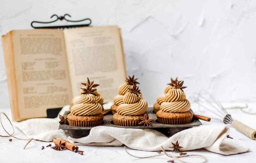 brown butter dirty chai cupcakes with star anise decoration