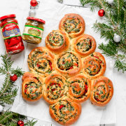 spinach artichoke and roasted red pepper pinwheels