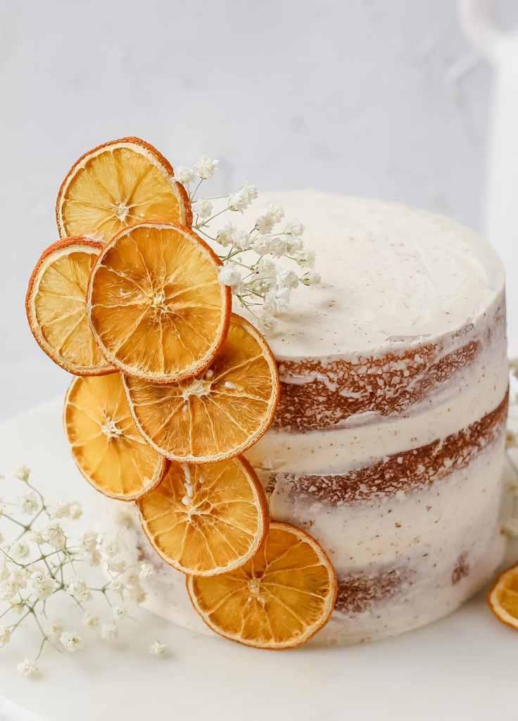 top view of orange cake