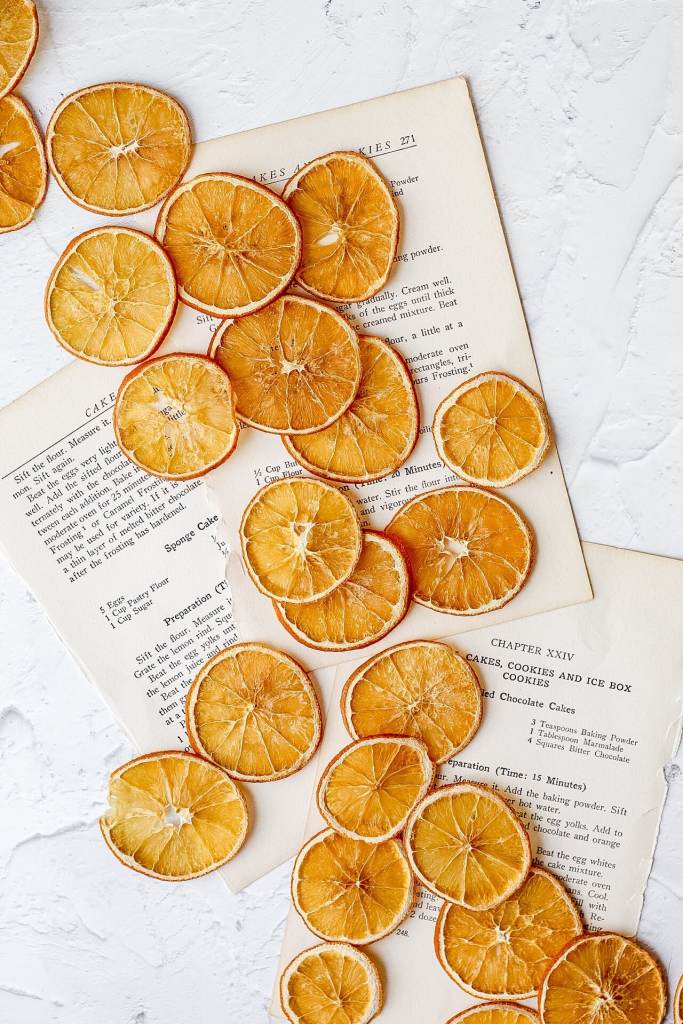 dehydrated oranges on paper