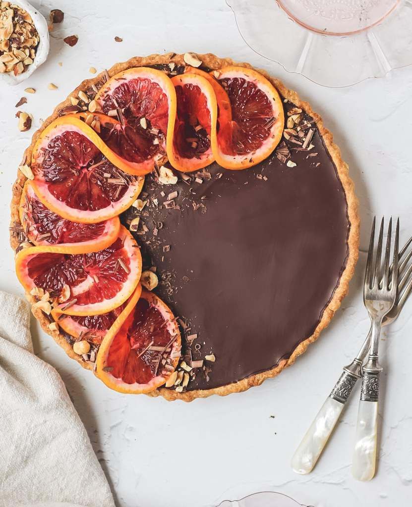 blood orange chocolate tart before slicing