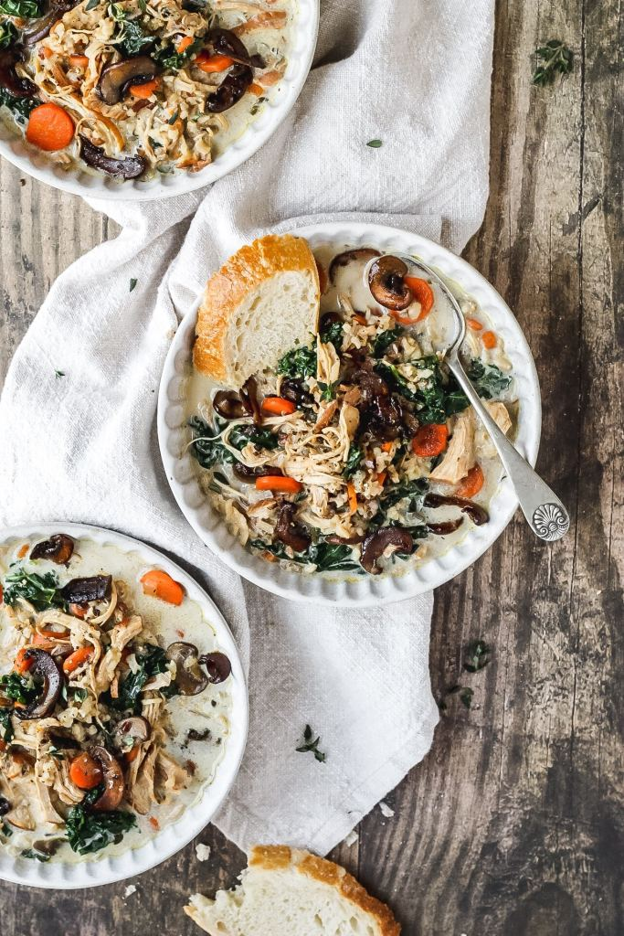 creamy chicken wild rice soup with mushrooms and kale