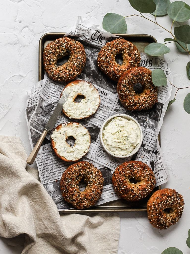 sourdough everything bagels with cream cheese