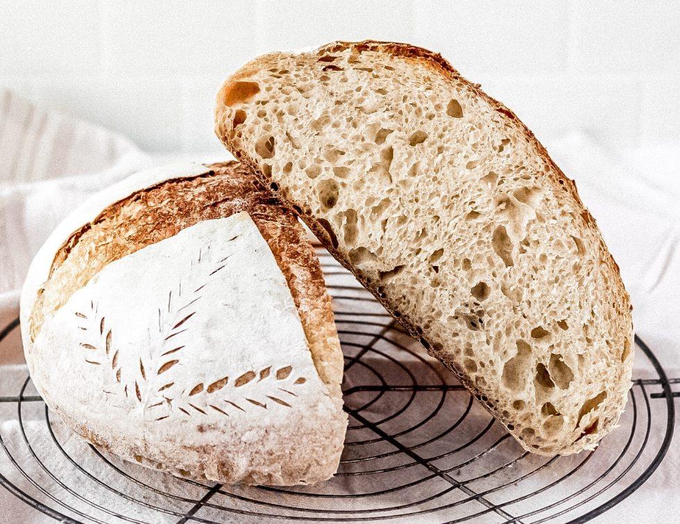 sourdough bread boule sliced in half