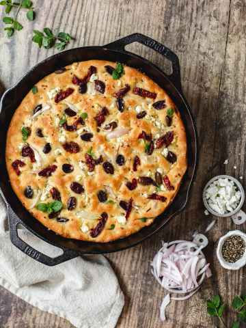 Mediterranean focaccia with sundried tomatoes and olives