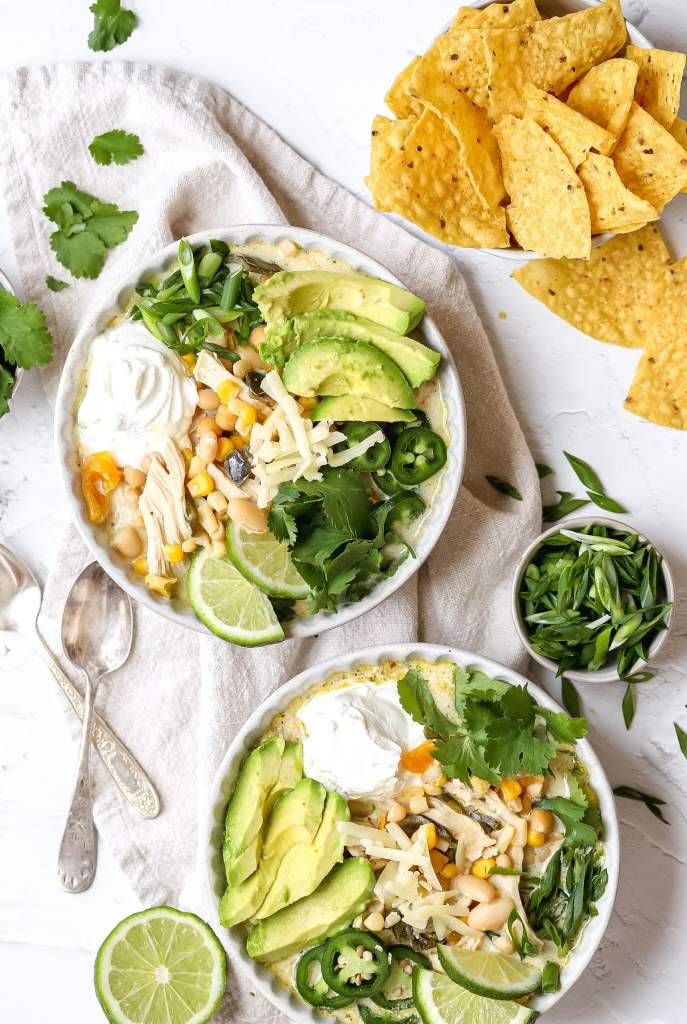 slowcooker white chicken chili in two bowls