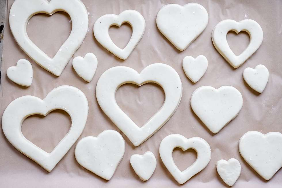 heart shaped donuts before frying