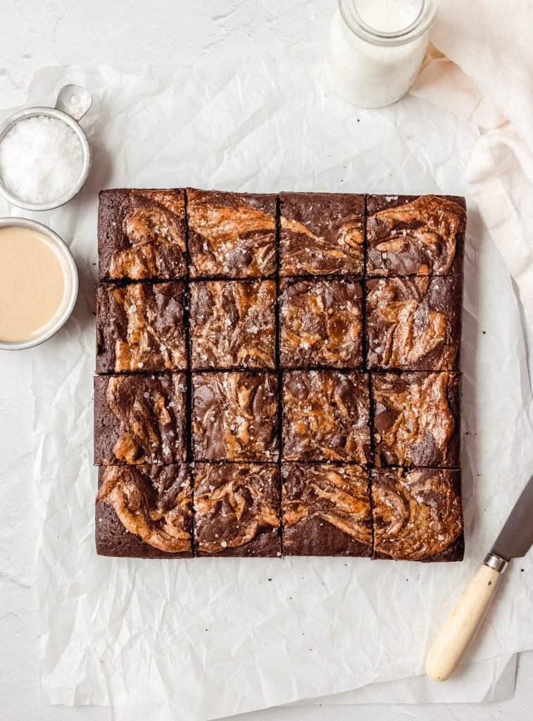 halva brownies cut into squares