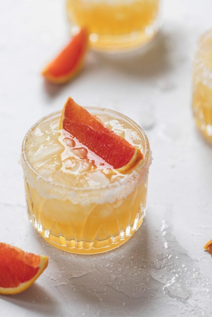 close up of cara cara orange margarita