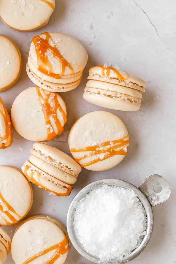 close up of salted caramel macarons