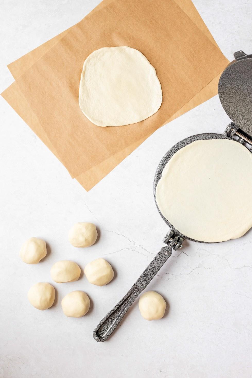 tortilla dough pressed