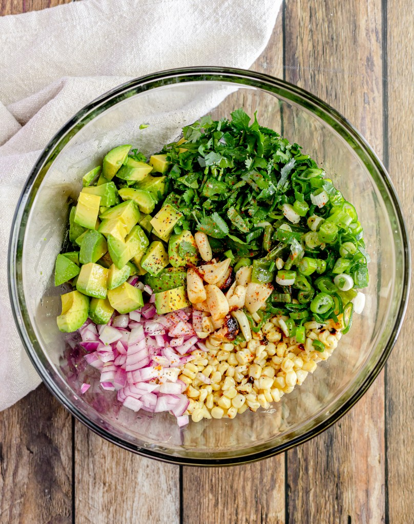 grilled corn and avocado salsa before mixing