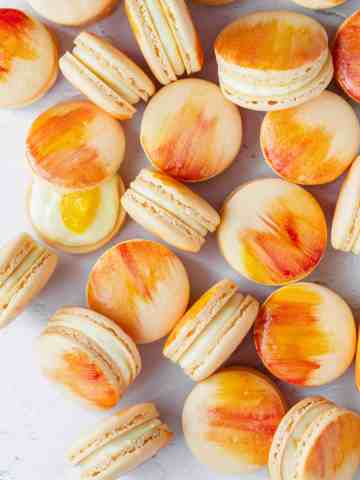 watercolor mango macarons