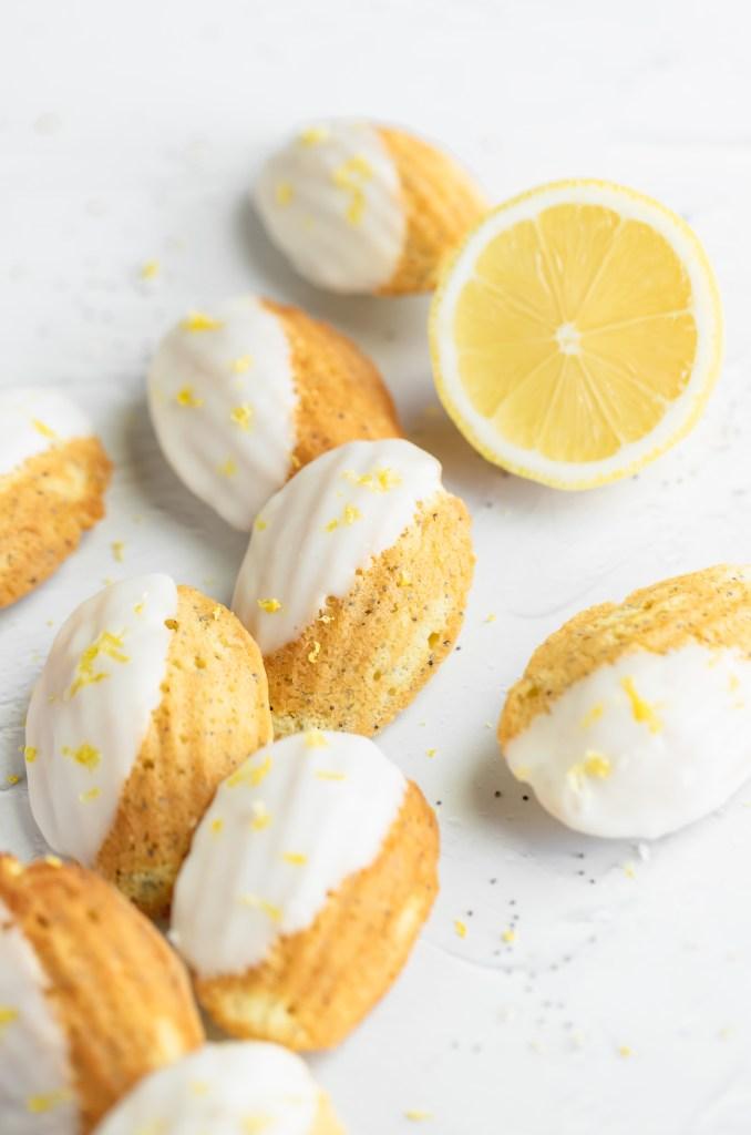 poppy seed madeleines with lemon glaze