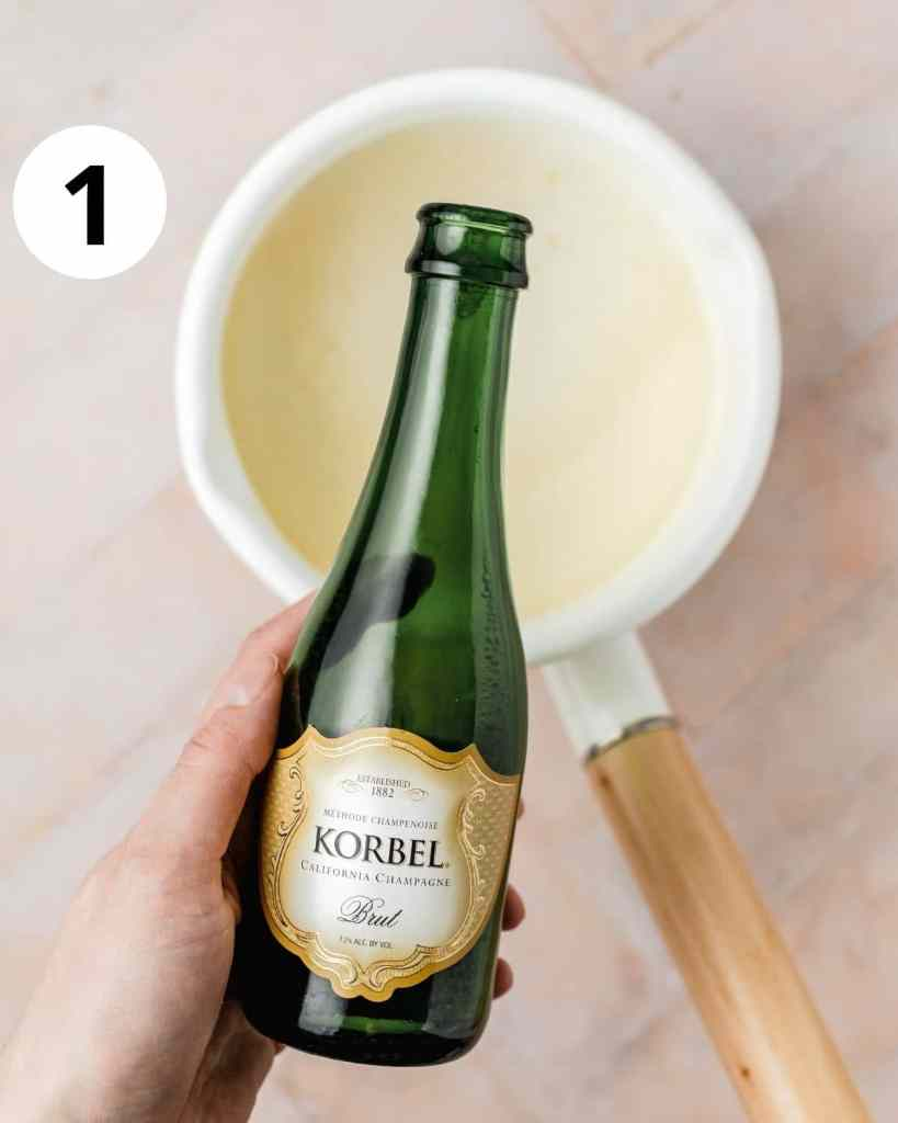 pouring champagne into pot