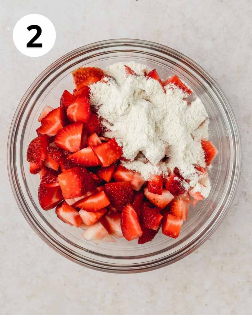 strawberries cut with flour on top