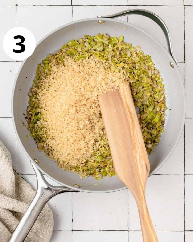 rice added to sautéed leeks
