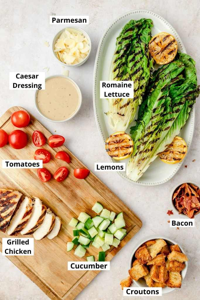labeled shot of grilled chicken caesar ingredients