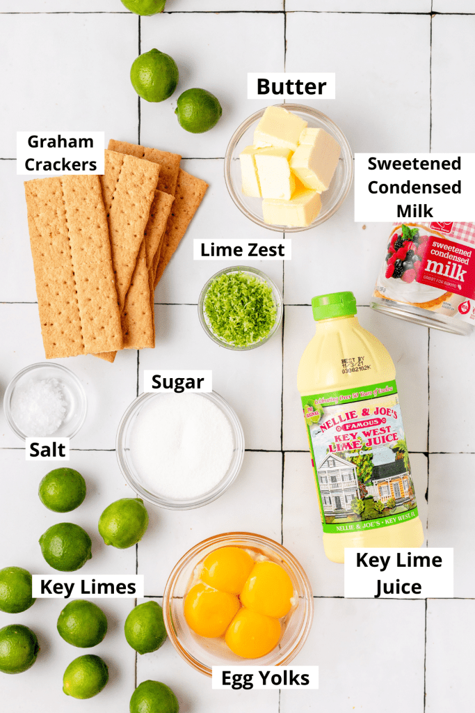 labeled shot of key lime pie ingredients
