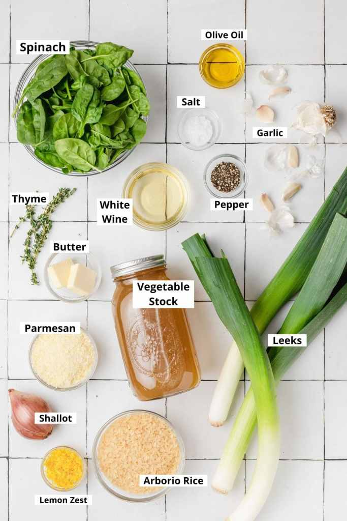 labeled shot of leek risotto ingredients