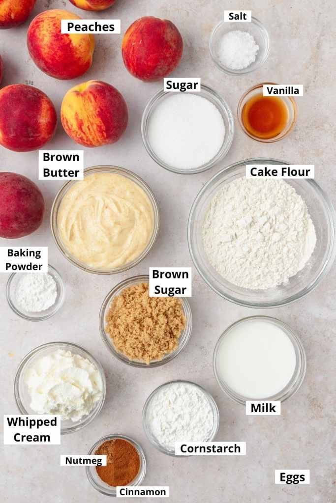 labeled shot of peach cupcake ingredients