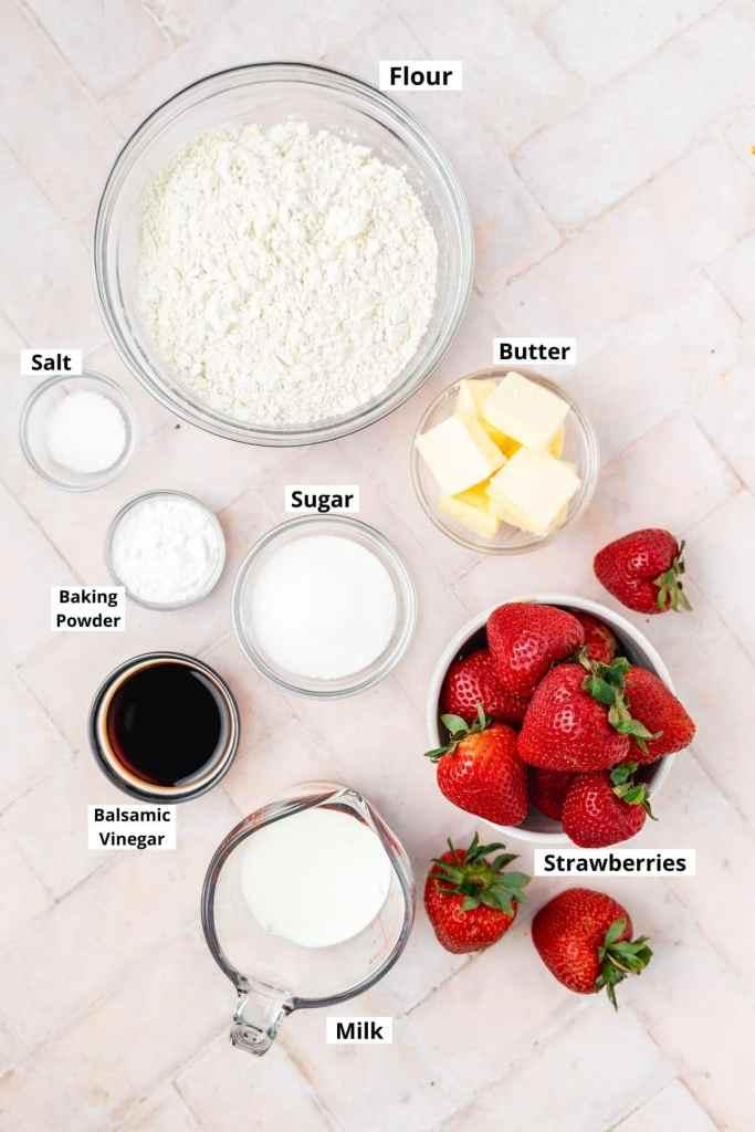 labeled shot of strawberry shortcake ingredients