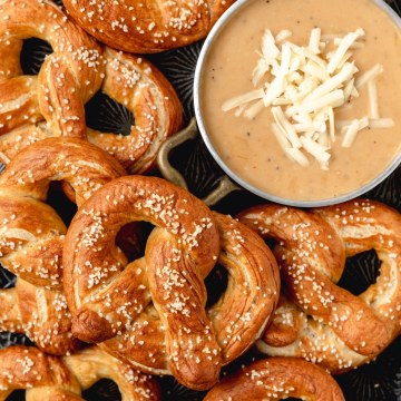 close up shot of sourdough pretzels with beer cheese