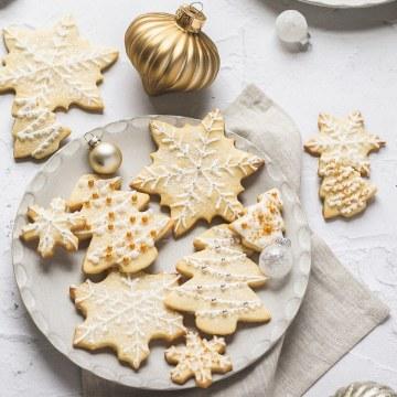 close up shot of Christmas cutout cookies
