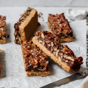 close up shot of pecan pie cookie bars