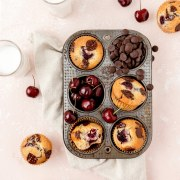 close up shot of chocolate cherry muffins