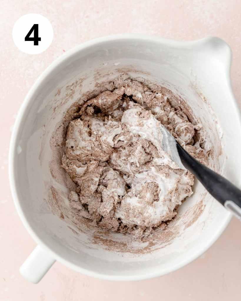 folding chocolate macaron batter