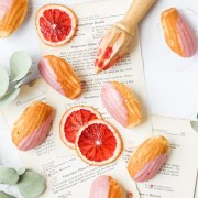 close up shot of blood orange madeleines