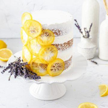 close up shot of lavender lemon layer cake