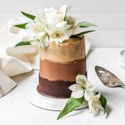 close up of chocolate espresso layer cake
