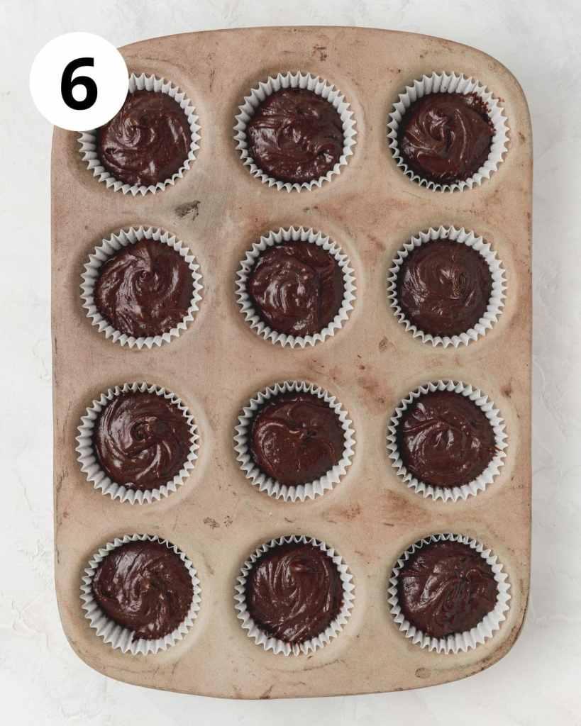 chocolate cupcakes in cupcake pan before baking