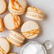 close up shot of salted caramel macarons