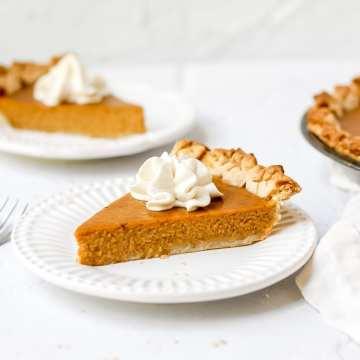 close up of bourbon pumpkin pie