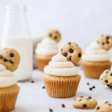 close up shot of cookie dough cupcakes