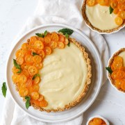 close up shot of candied kumquat tart