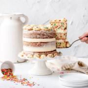 close up shot of birthday cake layer cake