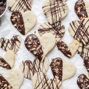 close up shot of chocolate hazelnut cookies