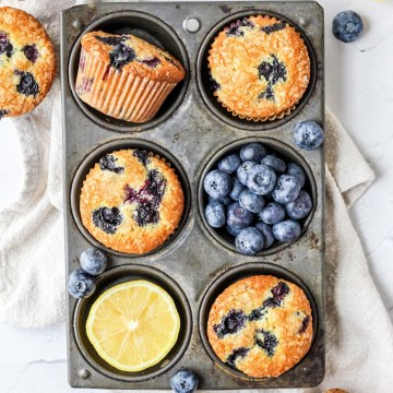 close up of brown butter blueberry muffins