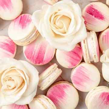 close up shot of vanilla bean macarons with rose buttercream